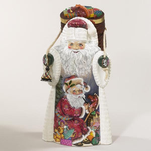 Kurt Adler 11.5-Inch Hand Carved wooden Santa With Backpack, RS0002