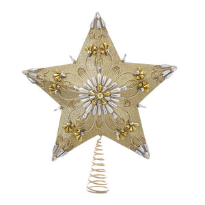 Kurt Adler 5-Point Gold and Silver Star Treetop, S4382