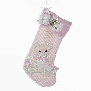 "Kurt Adler Pink and White Stripe With Baby Shoes ""Baby's 1st Christmas"" Stocking, SG0126"