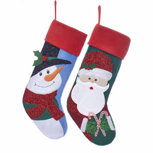 "Kurt Adler 24"" Felt Applique Santa and Snowman Stocking, SG0187"
