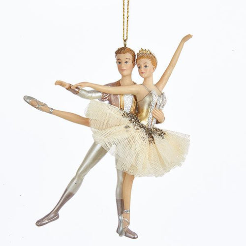 Kurt Adler Ivory and Gold Ballet Couple Ornament, TD1546