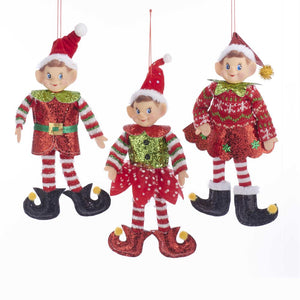 Kurt Adler Fabric Elf With Santa Hat Ornament, 3 Assorted, TD1572
