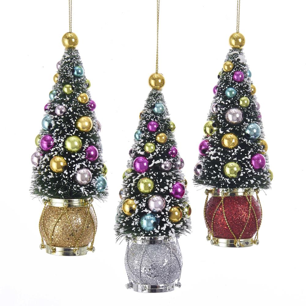 Kurt Adler Sisal Tree With Ball and Drum Ornaments, 3 Assorted, TD1600