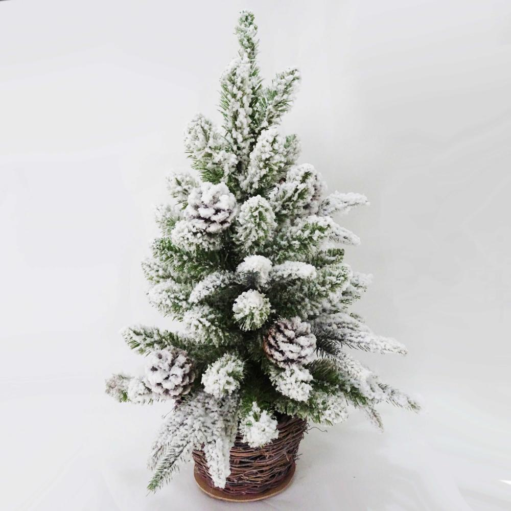 Kurt Adler 24-Inch Flocked Christmas Tree with Pinecones In Basket, TR0608
