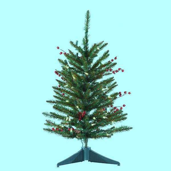 Kurt Adler 24-Inch Miniature Pre-Lit Red Berries and Pinecone Christmas Tree, TR2331