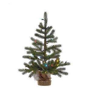 Kurt Adler 30-Inch Pre-Lit With LED Lights Christmas Tree With Burlap Base, TR2366
