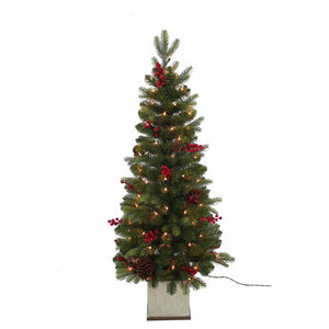 Kurt Adler 4-Foot Pre-Lit Berry Topiary Christmas Tree, TR2469