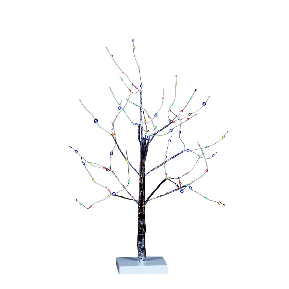 Kurt Adler 24-Inch Battery-Operated Silver Bark Christmas Tree With Multi-Color LED Fairy Lights, TR3219M