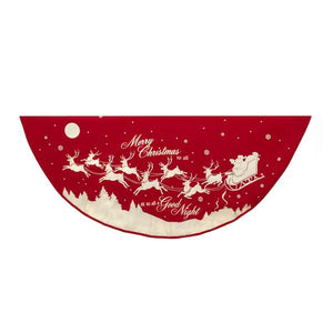 Kurt Adler 48-Inch Reindeer and Santa Printed Tree Skirt, TS0151