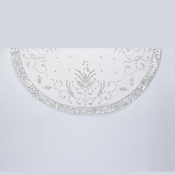 Kurt Adler 48-Inch Silver Hand Embroidered Tree Skirt, TS0156