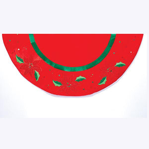 Kurt Adler 48-Inch Red With Holly Applique Velvet Tree Skirt, TS0170