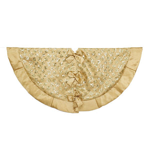 Kurt Adler 48-Inch Gold Sequin Snowflake Tree Skirt, TS0197