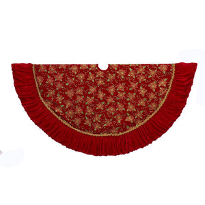 Kurt Adler 52-Inch Red and Gold Poinsettia Design Tree Skirt With Ruffle Border, TS0200