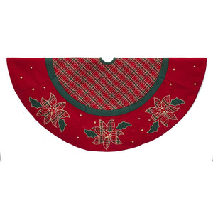 Kurt Adler 48-Inch Red and Green Plaid Tree Skirt with Poinsettias, TS0210