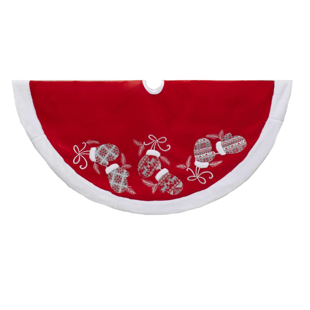 Kurt Adler 48-Inch Red and White Velvet Mittens Tree Skirt, TS0213
