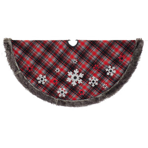Kurt Adler 48-Inch Plaid Snowflake Design Tree Skirt, TS0214