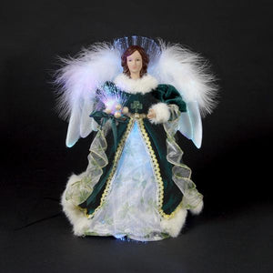 Kurt Adler Fiber-Optic Irish Angel LED Lighted Treetop, UL1075