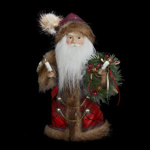 Kurt Adler Burgundy and Brown Santa Lighted Treetop, UL1090