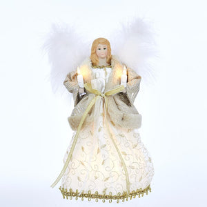 Kurt Adler Gold and Ivory Angel Lighted Treetop, UL1094