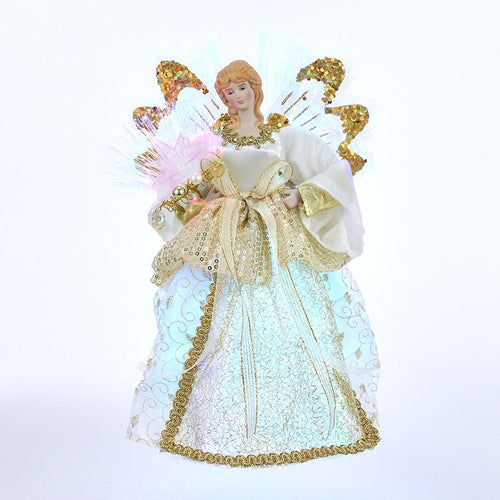 Kurt Adler Fiber-Optic Gold and Ivory Angel Lighted Treetop, UL1095