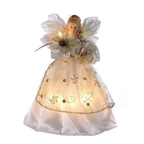 Kurt Adler Ivory and Gold Angel Lighted Treetop, UL2111