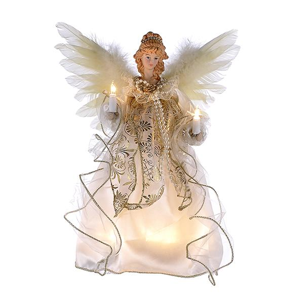 Kurt Adler Ivory and Gold Angel Lighted Treetop, UL2146