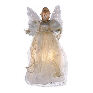 Kurt Adler Fiber-Optic Ivory and Gold Animated Angel Lighted Treetop, UL2173