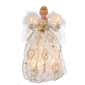 Kurt Adler Ivory and Gold Angel Lighted Treetop, UL2214