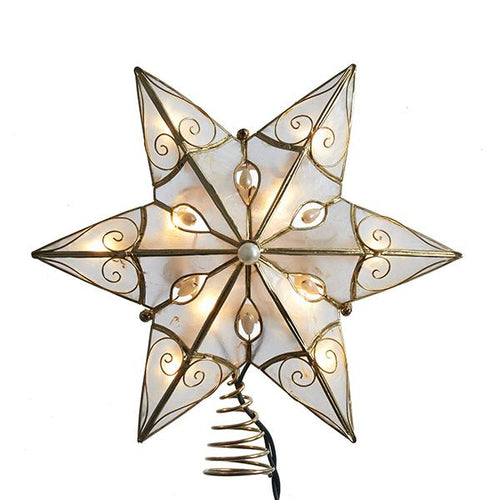 Kurt Adler Ivory and Gold Capiz Star Lighted Treetop, UL3130