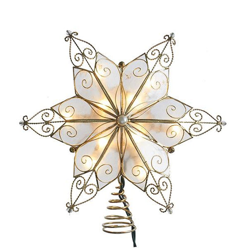 Kurt Adler Gold Capiz Star Lighted Treetop, UL3131