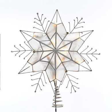 Kurt Adler Silver Snowflake Star Lighted Capiz Treetop, UL3143