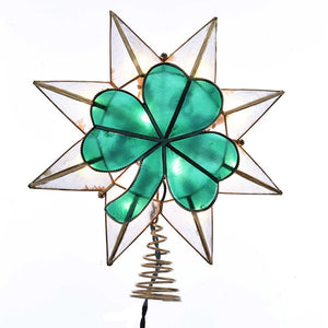 Kurt Adler Gold Star With Shamrock Lighted Capiz Treetop, UL3144