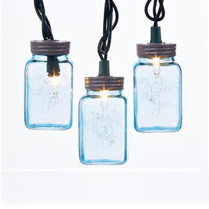 Kurt Adler Blue Mason Jar Light Set, UL4314B