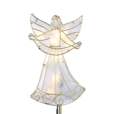 Kurt Adler Angel Holding Silk Banner Lighted Treetop, UL4320