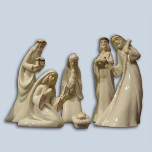 Kurt Adler Porcelain Holy Family & Three Kings Nativity Set 7 Pieces, W2284SET