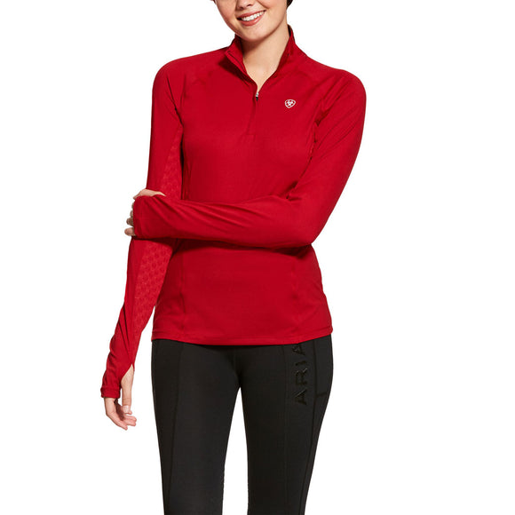 Ariat® Lowell 2.0 1/4 Zip Baselayer,  Laylow Red