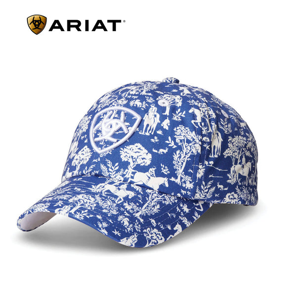 Ariat® Cotton Print Cap,  Navy Toile