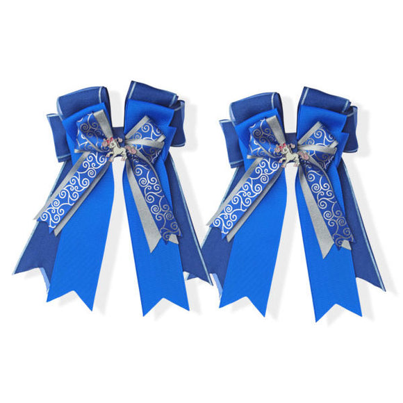 Belle & Bow Equestrian Blue Ribbon Bows