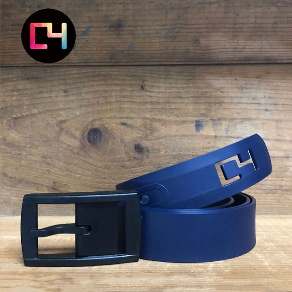 C4 Navy Classic Belt with Matte Black Buckle