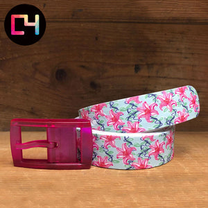 C4 Lillies Belt with Hot Pink Buckle