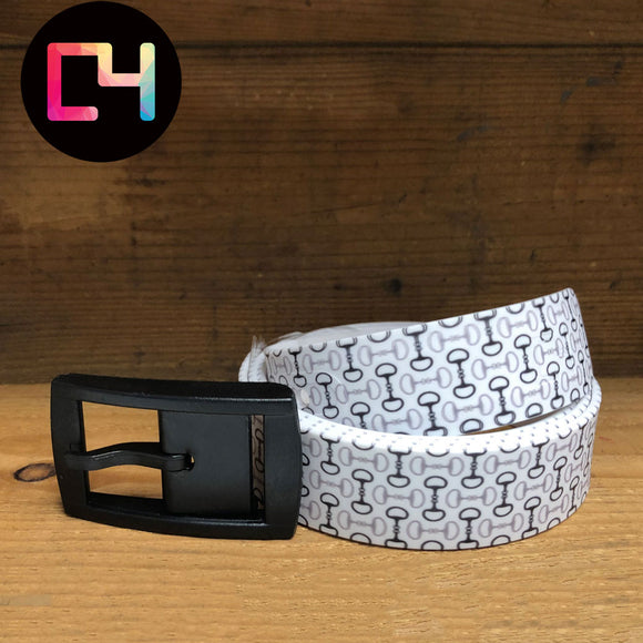 C4 Bits White Belt with Black Buckle