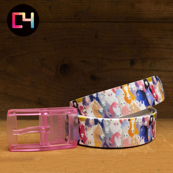 C4 Horse Heads Belt with Pink Buckle