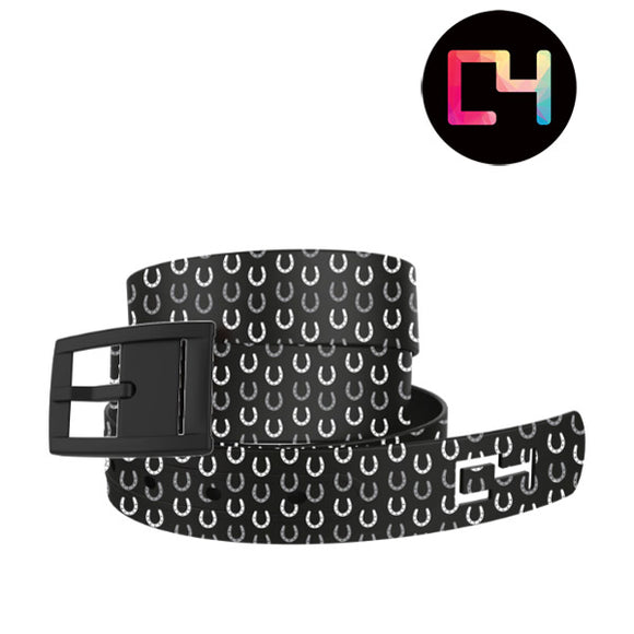 C4-Black Horseshoes Belt with Metal buckle
