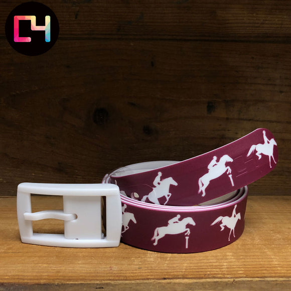 C4 Jump Maroon Belt with White Buckle
