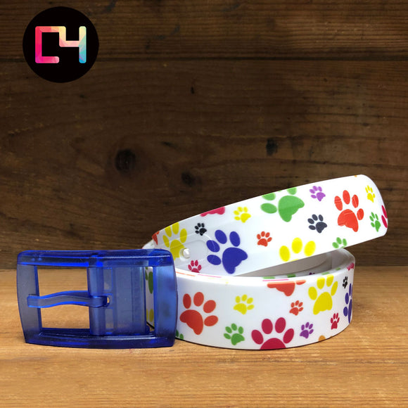 C4 Pawprints Belt with Blue Buckle