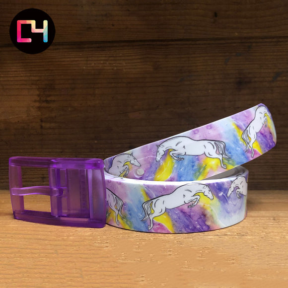 C4 Decidedly Equestrian Jump Belt with Purple Buckle
