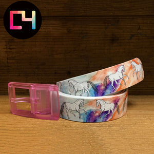 C4 Decidedly EQ Watercolor Belt with Pink Buckle