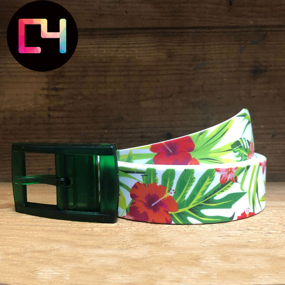 C4 Hibiscus Belt with Green Buckle