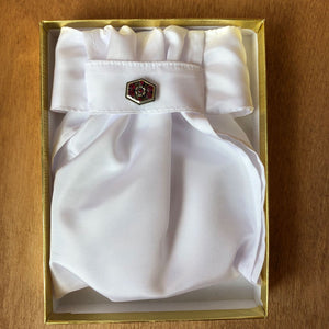 Ruffled White Poly Taffeta Stock Tie with Pin