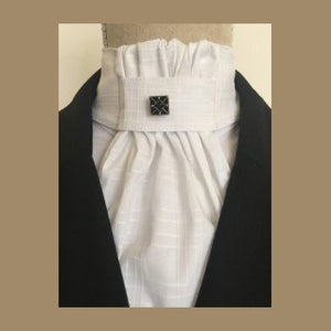 Ruffled White Cotton Stock Tie with Pin